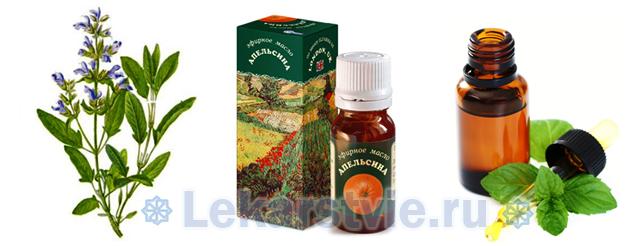 Шалфей, эфирные маста апельсина и мяты являются компонентами препарата Фитолизин