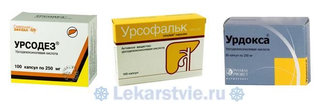 Для препарата Урсосан аналоги (Урсодез, Урсофальк, Урдокса)