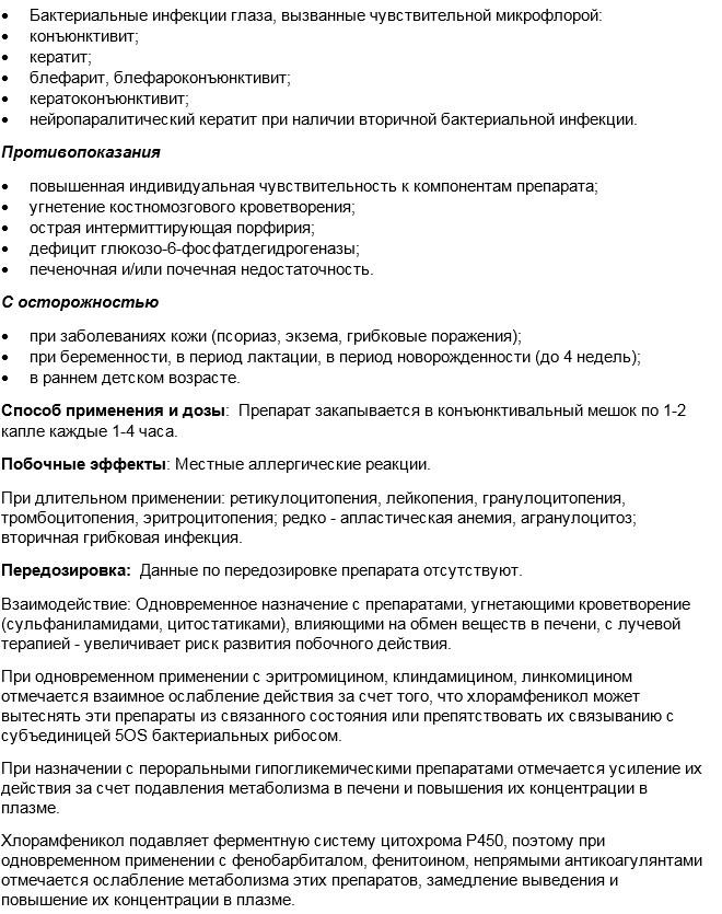 Левомицетин: инструкция по применению